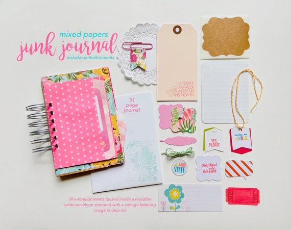 Spring Junk Journal, 30 Lists, Mixed Media Journal, Mixed Paper Mini Book, Gratitude Journal, Pink Floral, Gold Foil,  Mini Album, Smashbook
