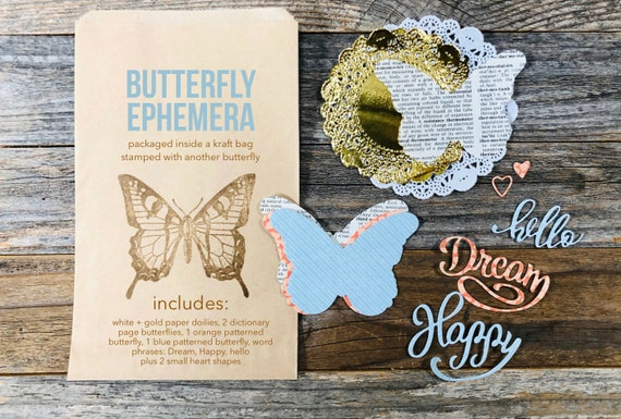 Butterfly Ephemera, Butterflies, Dictionary Pages, Paper Doily, Book Page Ephemera, Word Phrases, Hello, Happy, Dream, Junk Journal Supplies
