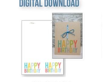 Happy Birthday Digital Download . Colorful DIY Card . Top Fold Design . Inspiration Worksheet Included .Children Rainbow Fun Simple Modern