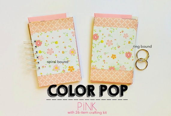 Pink Junk Journal, Bright Pink, Mixed Media Journal, Mixed Paper Mini Book, Raspberry Mini Album, Navy Notebook, List Journal, Smashbook,