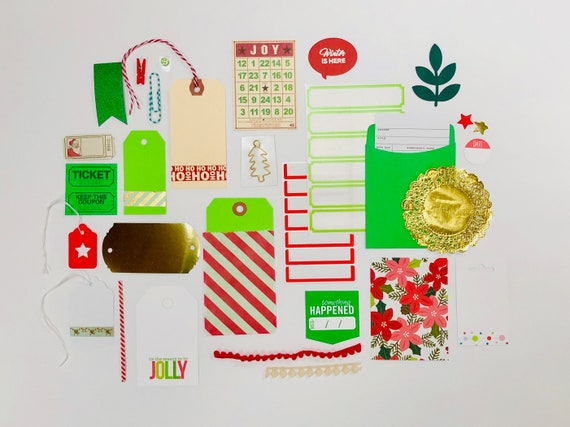 Christmas Embellishments, Christmas Gift Tags, Christmas Wrapping Supplies, Christmas Ephemera, Green Labels Kit, Stickers, Junk Journaling