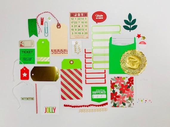 Christmas Embellishments, Christmas Gift Tags, Christmas Wrapping Supplies, Christmas Ephemera, Green Labels Kit, Stickers, Junk Journaling