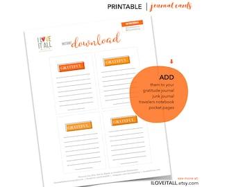 Grateful Card, Gratitude, Table Placecards, DIY Journal, Journaling, I Am Grateful, Thankful, Printable, Journal Cards, Gratitude Journal