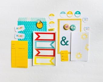 Summer Fun Journal Ephemera, Paper Ephemera, Stickers, Junk Journaling, Junk Journaling Supplies, Scrapbooking, Ephemera Kit, Craft Supplies