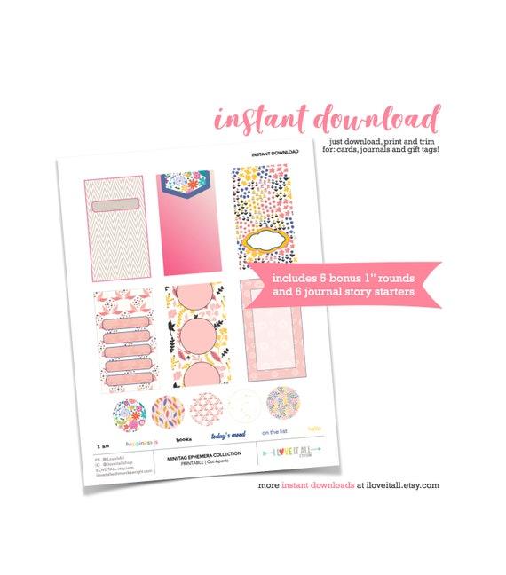 Pink Paper Tags, Printable Pink Tags, Pink Floral Tag, Junk Journaling Printable Ephemera, Journaling Card, Journal Prompts