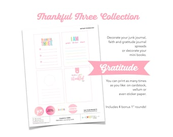 Thankful Three Journaling Cards, Grateful Thankful Blessed, Today I Am Thankful For Gratitude Journaling Prompts, Gratitude Journal Supplies