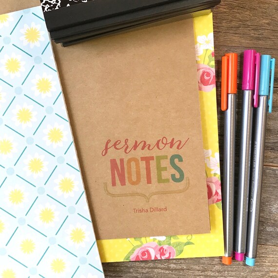 Sermon Notes, Church Notes, Faith Journal, Personalized Notebook, Field Notes A6 Pocket, Midori Notebook, Travelers Notebook, Refill Insert
