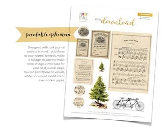 Music Note Ephemera, Pine Tree, Collage Art, Vintage Bicycle, Song Pages, Music Notes, Vintage Ad, Junk Journal Supply, Printable Ephemera