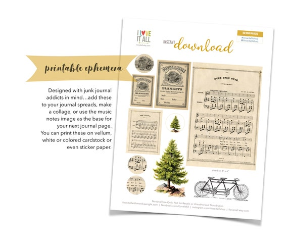 Printable Ephemera, Christmas Tree, Pine Tree, Music Notes, Ephemera, Vintage Bicycle, Song Pages, Vintage Ad, Junk Journal Supply, Download
