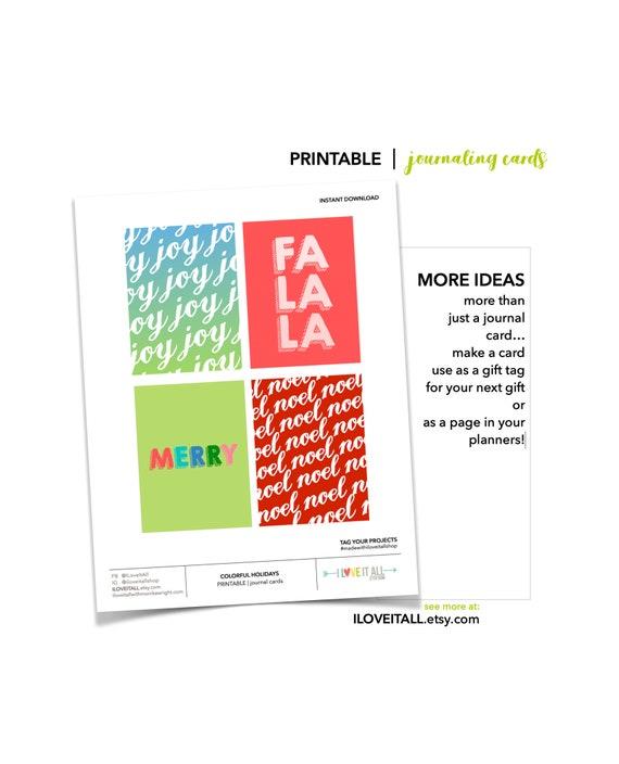 Christmas Gift Tags, Printable Journal Cards, Colorful Holiday Cards, Fa La La, Joy Journal Card, Fa La La Gift Tag, Holiday Gifts, Tags