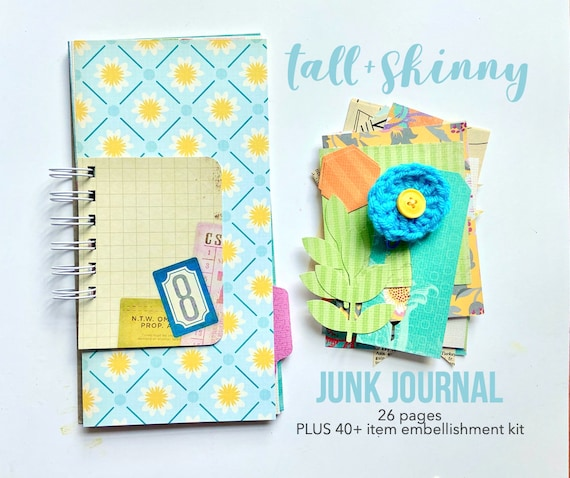 Floral Tall + Skinny Journal, Spiral Notebook, Mixed Paper Junk Journal, Mini Book, Mixed Media Journal, Junk Journal, Mini Album, Colorful