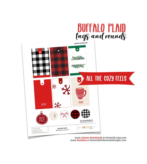 Buffalo Plaid Gift Tags, Red and Black Gift Tags, Christmas Tags, Joy Gift Tag, Christmas Tags and Labels, Buffalo Plaid Paper Ephemera