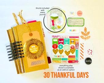 30 Thankful Days, Mixed Media Journal, Thankfulness Notebook, Tall and Skinny Scrapbook Album, Junk Journal, 30 Day Gratitude Journal