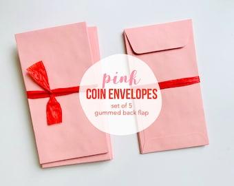 Pink Coin Envelope, Coin Envelope for Junk Journals, Pink Envelope, Pink Ephemera, Mixed Media Supplies, 3.50 x 6.50, Pink Ephemera