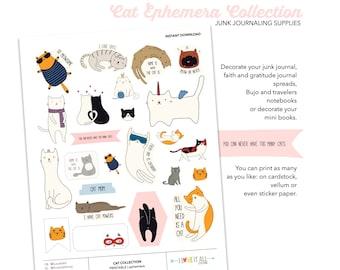 I Love Cats Printable Ephemera Collection, Planner Download, Junk Journaling Supplies, Cat Ephemera, Cat Doodle Stickers, Caturday, Cat Love