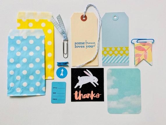 Somebunny Loves You, Easter Crafting Kit, Bunny Rabbit, Blue Hang Tag, Blue Gingham Clip, Blue Polka Dot Bag, Yellow Bag, Blue Ephemera