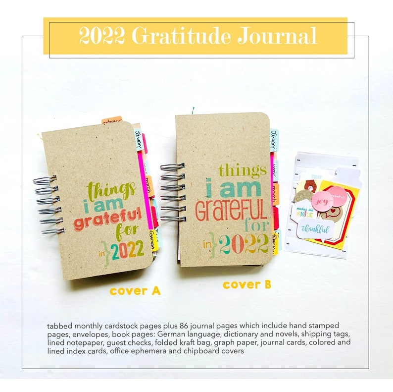 NEW 2022 Gratitude Journal Mixed Paper Junk Journal Things I image 0