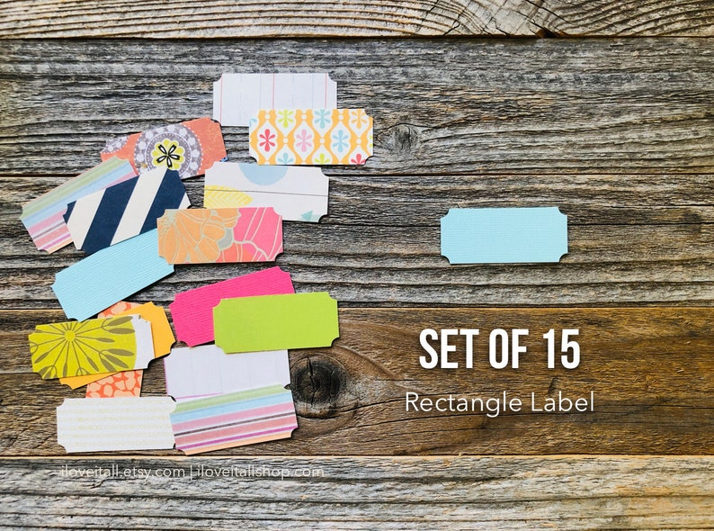Rectangel Label Tag Die Cuts Paper Die Cuts Set of 15 image 0