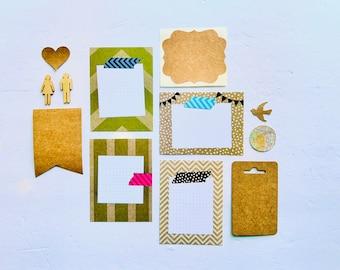 Nature Vibe, Kraft Paper Ephemera, Junk Journaling, Journaling Supply, Mixed Media Crafting Kit, Wood Veneer Flair, Sticker, Journal Spots