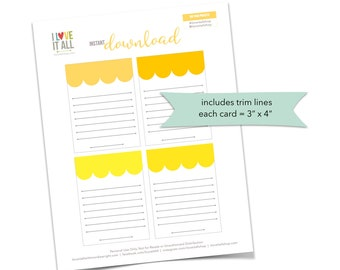 Yellow Scallop Journaling Cards, Sunshine Gold, Scallop Banner Cards, Lined Notes, Scrapbooking, Scallop Banner Note Cards, Lined Note Card