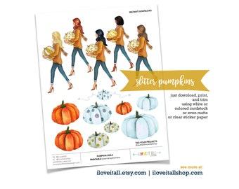 Planner Girl Sticker, Girl Holding Pumpkin, Pumpkin Ephemera, Junk Journaling Supply, Planner Sticker, Glitter Pumpkin, Halloween Girl