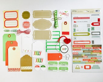 Christmas Labels Kit, Embellishment Kit, Holly Jolly Christmas, Shipping Tags, Stickers, Gift Wrap, Scrapbooking, Art Journaling, Planner