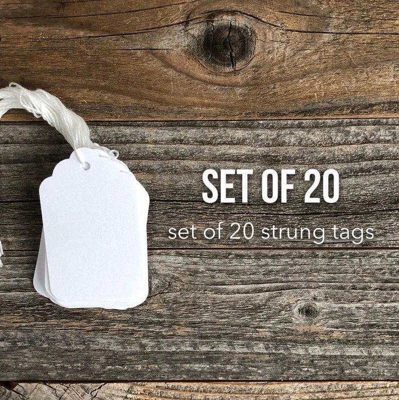 White Tags Set of 20 Gift Tags Large Hang Tag Scrapbooking image 0