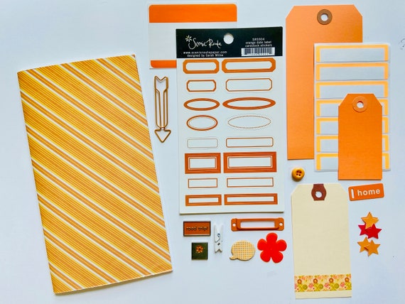 Travelers Notebook Insert, Standard TN, Orange Striped Notebook, Travelers Notebook Kit, Midori Beginners Kit, Journal Notebook, Refill