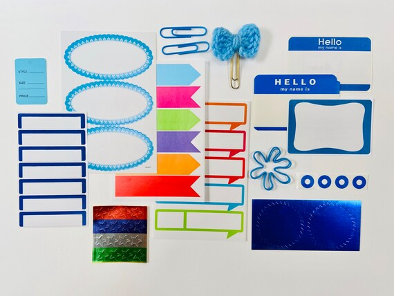 Blue Sticker Collection, Ephemera, Scrapbooking Kit, Journaling Supplies, Blue Foil, Star Sticker, Blue Paper Clips, Hello Sticker,  Flower