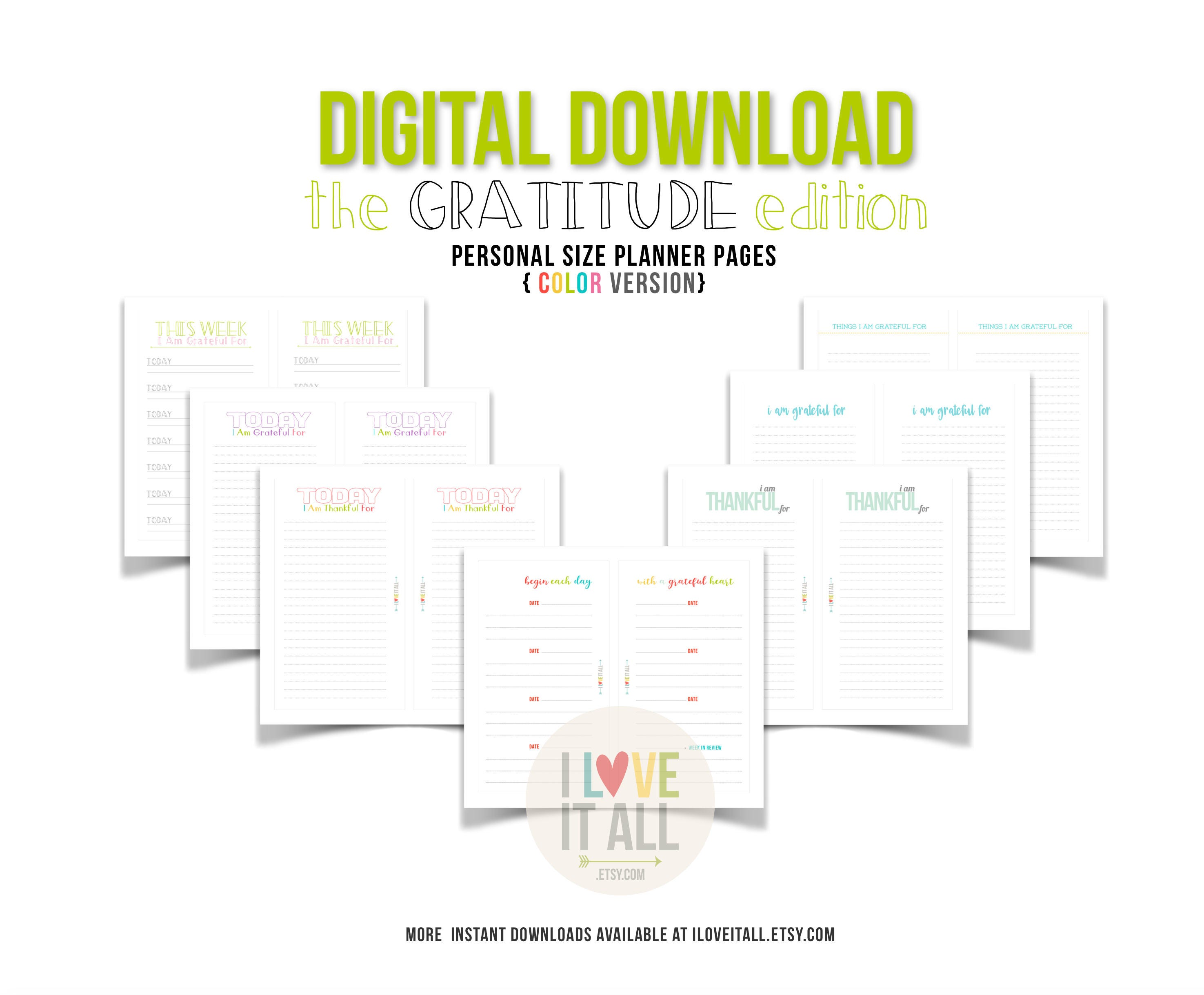 gratitude journal planner insert pages printable thankful grateful this week filofax personal planner downloads digital planner download