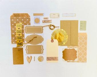 Nature Vibe, Kraft Paper Ephemera, Junk Journal Ephemera, Natural Journaling Supplies, Junk Journal Craft Kit, Crafting Supplies