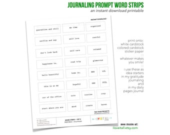 Minimalist Journaling Prompts, Word Strips, Journaling Suppiles, I Am Enough, List Journal Starters, Story Starter Printable, Journaling