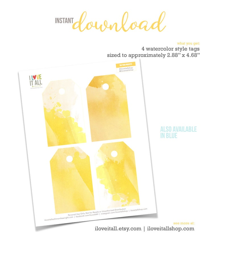 Watercolor Tags Yellow Watercolor Tags Instant Download image 0