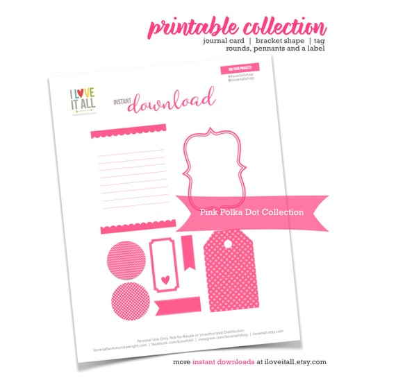 Pink Collection, Polka Dots, Polka Dotted, Tag Labels, Page Flags, Junk Journal Supply, Magenta, Printable Journal Cards, Cut Apart Ephemera