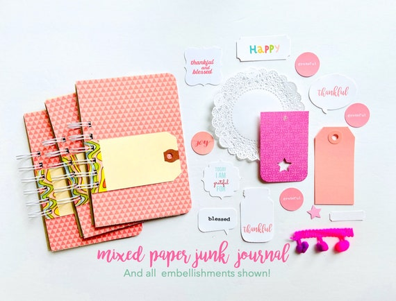 Pink Junk Journal, Mixed Media Journal, Mixed Paper Mini Book, Gratitude Journal, Pink Gingham, Crochet Heart Clip, Mini Album, Smashbook,
