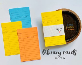 Yellow Library Cards, Blue Library Cards, Orange Library Card, Book Check Out Card, Library, Checkout Card, Book Borrower's Card, Nostalgic