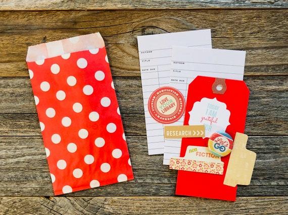 Book Lover Kit, Paper Ephemera, Library Card, Paper Shapes, Embellishment Kit, Junk Journal Supplies, Mini Album Supplies, Scrapbooking,