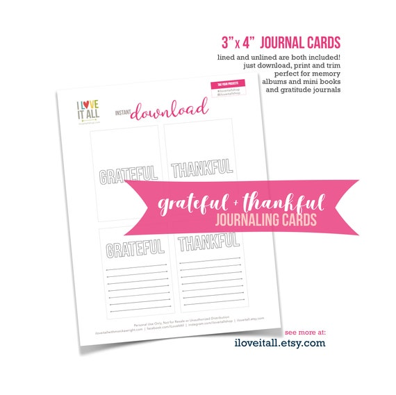 Grateful Card, Thankful Journaling Card, Gratitude Journal Cards, Gratitude Journal, Scrapbooking, Pocket Pages, Gratefulness, Mindfulness
