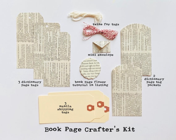 Dictionary Book Page Tags, Book Page Tag Pockets, Paper Flower, Book Page Ephemera, Junk Journaling, Crafting Kit, Large Manila Shipping Tag