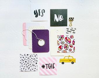 TGIF Crafting Kit, Pie Chart Card, Yellow Taxi Flair Embellishment, Square Journal Cards, Junk Journal Supply, Scrapbooking Ephemera