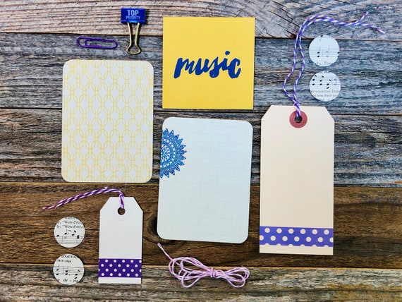 Music, Purple Polka Dots, Hymnal Die Cuts, Paper Ephemera, Top Priority, Purple Clip, Sunshine Yellow, Embellishments, Junk Journal Supply