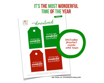 Most Wonderful Time of the Year, Christmas, Red Tag, Green Tag, Gift Tags, Journaling Card, Christmas Tag, Instant Download