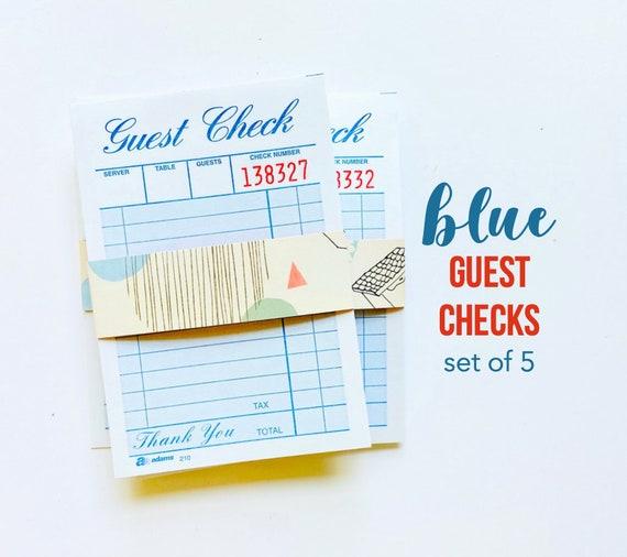 Blue Guest Check Reciepts, Blue Paper Ephemera, Junk Journaling, Journaling Spots, Collage Art, Junk Journal Supplies, Mixed Media