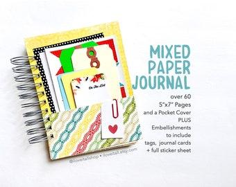 Spiral Bound Mixed Paper Junk Journal, Mixed Media Art Journal, Mixed Papers Mini Book Album, Smashbook Journal, Art Journal, Scrapbook