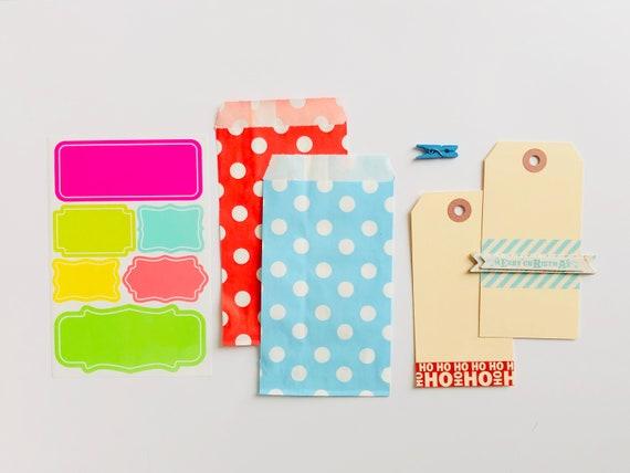 Merry Christmas Gift Tag, Neon Sticker Labels, Holiday Gift Tag, Ho Ho Ho Tag, Red Polka Dots, Blue Polka Dot Bag, Christmas Tag Set