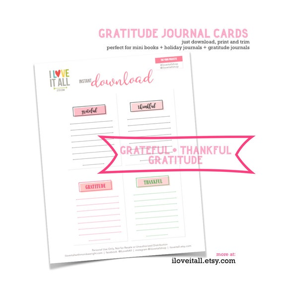 Grateful, Thankful, Gratitude, Gratitude Journaling, Journaling Card, Journaling, Printable, Junk Journal Supply, Pink, Instant Download
