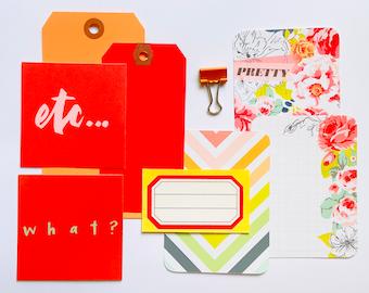 Bright Florals Journaling Ephemera Crafting Kit, Red Shipping Tag, Floral Junk Journal Supplies, Junk Journaling Kit, Orange Bulldog Clip