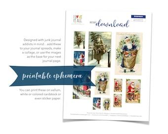Vintage Santa Claus, Printable Christmas Ephemera, St. Nick, Christmas, Collage Art, Junk Journaling, Printable Ephemera, Retro Santa, Xmas