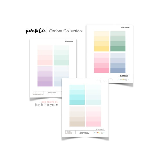 Ombre Pink Journaling Cards, Paint Chip Journal Cards, Scrapbooking, Junk Journaling Supplies, Printable Cards, Instant Download, Rainbow