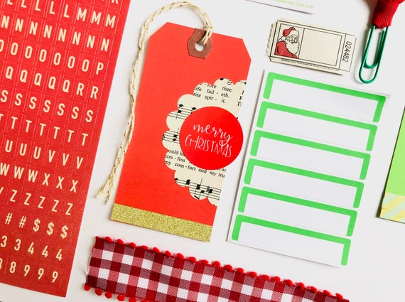 Christmas Gift Tag Set, Merry Christmas, Letter Stickers, Label Sticker, Red Gingham Ribbon, Paper Clip, Red Stripe Washi Tape, Santa Ticket